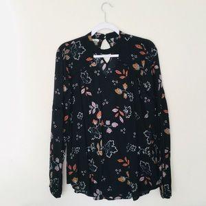 Medium Black Floral Long Sleeve Top
